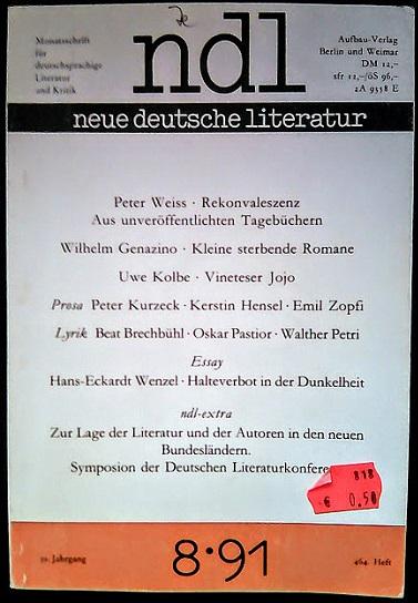 neue deutsche literatur 8�91